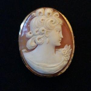 10k Gold Vintage Pin Pendant Cameo